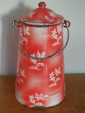 VINTAGE French Enamelware MILK POT / JAR/ CAN - WHITE EDELWEISS pattern  ca.1900