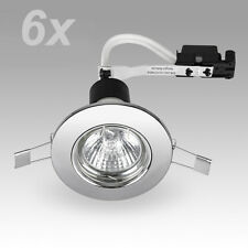 6 x Chrome GU10 Recessed Ceiling Spot Lights Downlighters Downlights Fittings