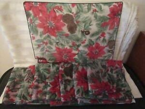 8 Sheer Holiday Christmas Poinsettia Pine Cone Napkins / Dresser doily and more