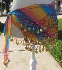 Rainbow Design Belly Dance Hip Scarf with Gold Coins