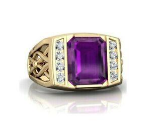 Natural Amethyst Gemstone Real Diamond 18K Yellow Gold Men's Ring S9461