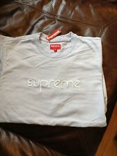 Supreme Tonal Embroidered Tee BABY BLUE Medium Tshirt M NEW SS16 L/S Top