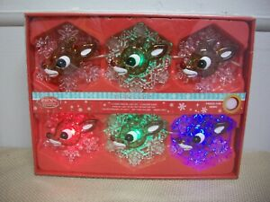 Rudolph The Red Nosed Reindeer Musical String LED 6 Lights 3 Colors NEW