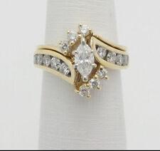Marquise Cut Diamond Wedding Engagement Bridal Ring Set 14K Yellow Gold Over 2CT