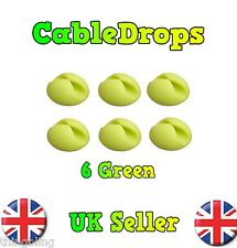 6 Green Cable Drops Clips Stop Cables - USB Charger Cables Management tidy