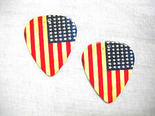 NEW OLD GLORY AMERICAN FLAG 2 SIDED AGED LOOK PRINTED GUITAR PICK EARRINGS