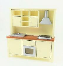 Dolls House Complete Modern Kitchen Unit with Sink Oven & Hob Cream Walnut