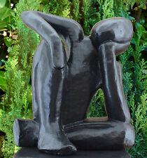 Gartenfigur Träumer Schwarz Steinfigur Skulptur Mensch Gartendeko Steinguss