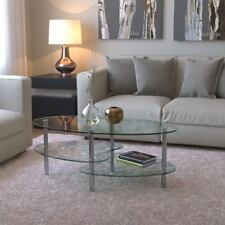Coffee Table Oval All Clear Glass Furniture Stylish Modern Design Contemporary