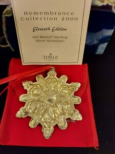 """Towle Sterling Silver Christmas """"Snowflake"""" Ornament 2000"""