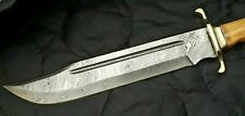 "Crocodile Dundee Bowie Damascus steel BLADE Camel bone  handle, 17""inch Lenght"