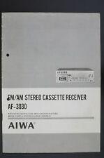 AIWA af-3030 Original FM/AM Cassette Receiver Manual/OWNER `s Manual