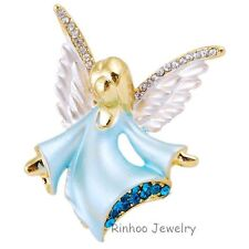 Crystal guardian Angel Brooch blue  Pin Ladies  Badge mum mother's day birthday