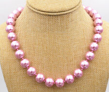 """Sea Shell Pearl Necklace 18""""Aa New Beautiful! 14mm Pink South"""