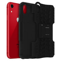 IPHONE XR Anti Golpes Silicona + Policarbonato Soporte Integrado Negro