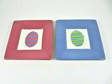 "Tag Easter Egg Theme Ceramic Square Snack Plates Set Of 2 Pink Blue 5.25"" Square"