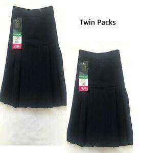 BHS Girls ((TWIN PACK)) Pleat School Uniform Skirt Black