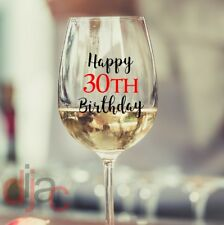 HAPPY BIRTHDAY VINYL DECALS STICKERS for WINE GLASS
