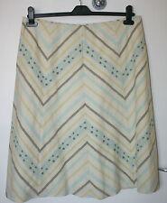 Principles UK16 EU44 cream lined skirt with green/blue diagonal floral stripes