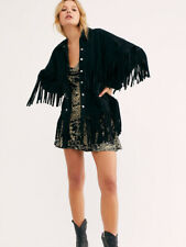 Womens Free People The Lucky Ones Suede Fringed Studded Jacket - Black - New