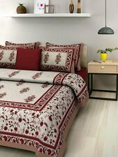 India Tapestry Jaipuri 100% Cotton King Size Bed Sheet Pillow Case Bed Cover Set