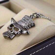 "COOL Stainless Steel Necklace Skull Head Pendant 20""Chain Link CZ Dangle Jewelry"