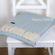 KNEE RUG / SMALL THROW Pure New Wool DUCK EGG BLUE Herringbone Blanket Chair