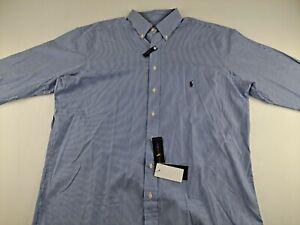 NEW Ralph Lauren Cotton Stretch LT Blue Striped Shirt Long Sleeve Button Down