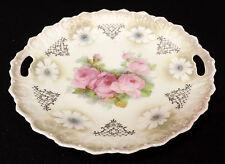 bavaria 9 1/2 in serving plate handles deep pink flowers embossed scalloped rim