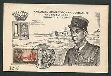 Algerie Mk 1951 coronel d 'Miroux maximum tarjeta Carte maximum card mc cm d3821