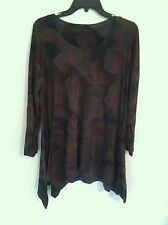 Nelly & Milly women's large L long sleeve blouse asymmetrical shirt flowers used