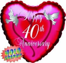 "18"" Ruby Happy 40th Anniversary Foil Balloon Helium 40 Wedding Party Decoration"