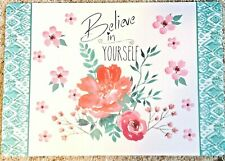 """Placemat Set 4 Believe In Yourself 17"""" x 11"""" Vinyl Mainstays New"""
