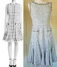 $3000 OSCAR DE LA RENTA STUNNING BLK WHT TWEED BOUCLE SILK DRESS US 8