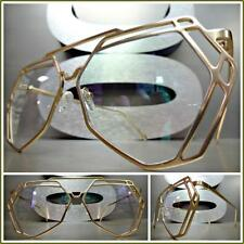 CLASSIC VINTAGE RETRO Style Clear Lens EYE GLASSES Hexagon Gold Fashion Frame
