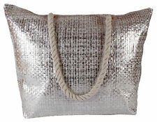 Lorenz Large Metallic Effect Woven Gold Silver Holiday Beach Bag Beachbag