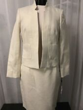 Calvin Klein Fully Lined Ivory Metallic Womens Skirt Suit Size 10P NWT