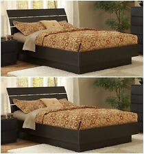 2 Piece Brown Queen Platform Bed Combo Set Bedroom Home Furniture Free Headboard