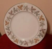 "Sango Fine China ARGENT 10 1/2"" Dinner Plates Leaves/Platinum Accents - Set of 5"