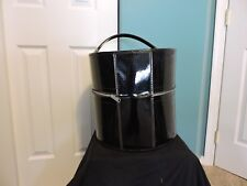 Vintage Wig Carry Case Black Vinyl Hat Luggage Millinery Canvas Head Real Hair