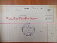 Vintage movie letterhead Berner Bros. publishing co Antigo advertising 2-9-1911
