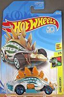 2018 Hot Wheels #284 Dino Riders 1/5 MOTOSAURUS Gray/Teal w/Teal 5 Spoke Wheels