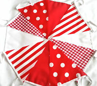 Handmade Candy Fabric Party Bunting 30 FT Polkas & Stripes FREE (UK) POST