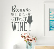 Vinyl Wall Decal Phrase Family Wine Kitchen Stickers 22.5 in x 19 in Grey gz315
