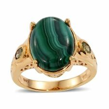 GENUINE AFRICAN MALACHITE HEBEI PERIDOT SOLITAIRE ACCENT 12.33 CT RING SIZE 5