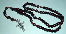 FRANCISCAN CROWN Wood Bead 7 Decade Cord Rosary with San Damiano Crucifix