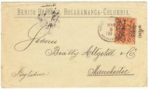 COLOMBIA 1904 RARE provisional inflation use habilitada on cover Bucaramanga