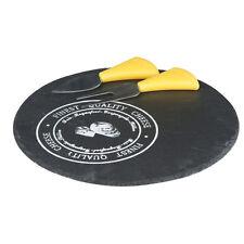 Käseplatte aus Schiefer Ø 23 cm mit Käsemesser und Gabel Servierplatte für Käse