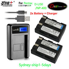 LCD USB + 2XReplacement Battery For PENTAX D-LI50 / NP-400 AU-ship1-5days