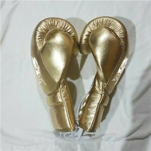 Gold Shine Leather Custom logo Boxing Gloves for Training,Sparring & Competition